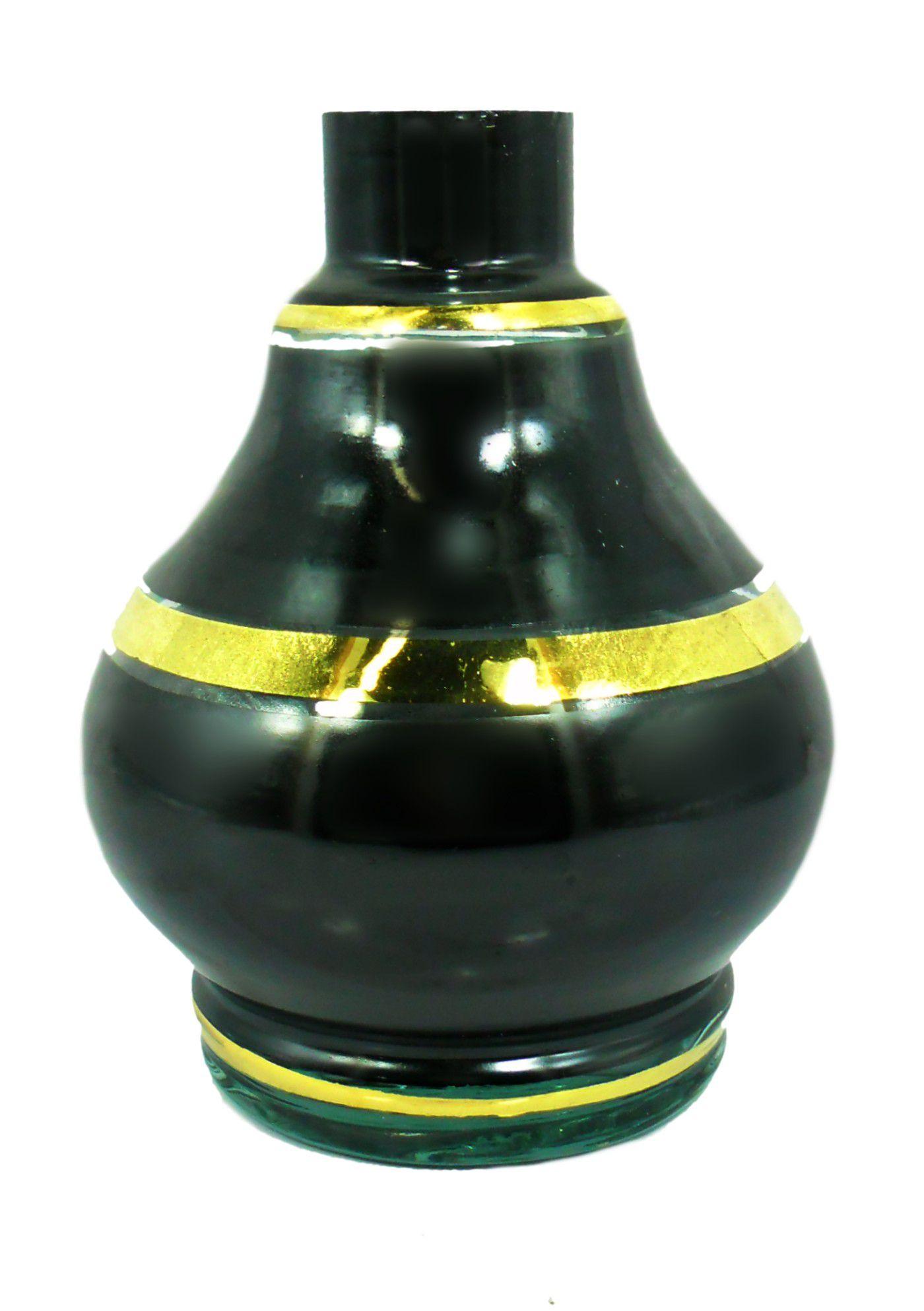 Vaso/base para narguile GOTA macho 15,5cm, artesanal Egípcio preto com listra dourada. Bocal 4,0cm diâm.