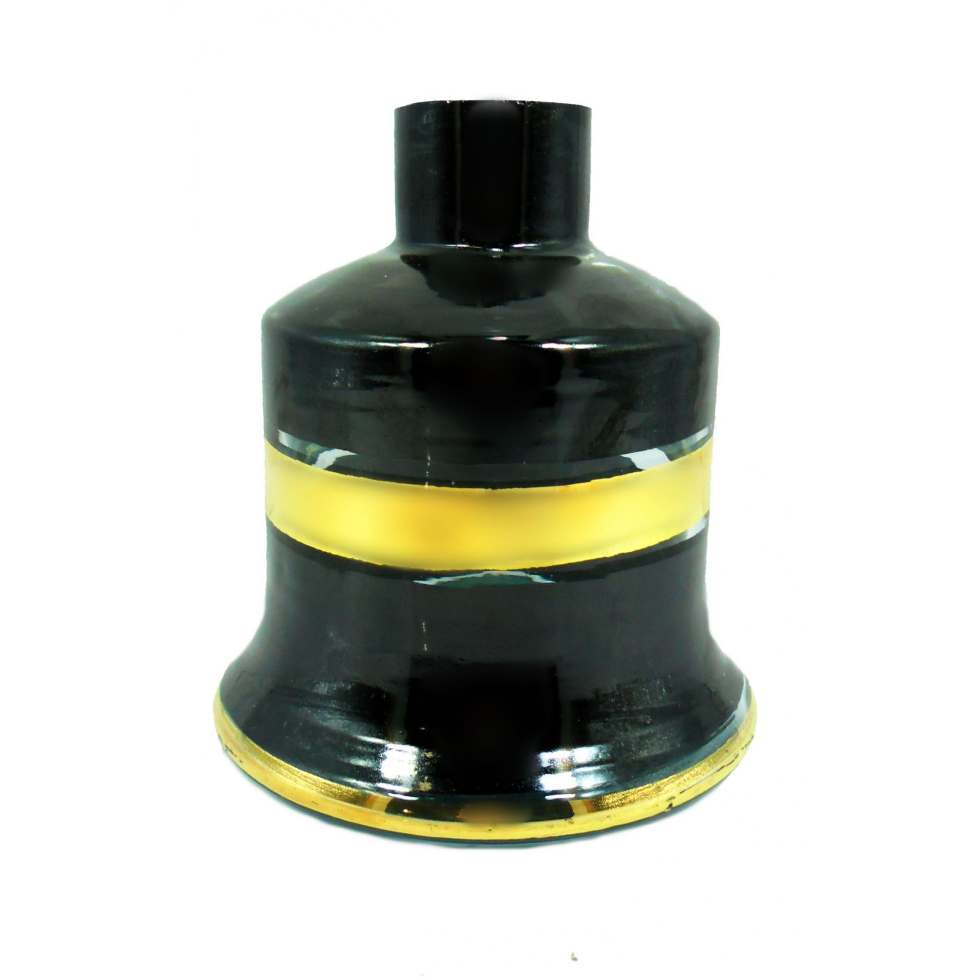 Vaso/base para narguile JUMBINHO macho 14cm, artesanal Egípcio preto com listra dourada. Bocal 4,0cm diâm.