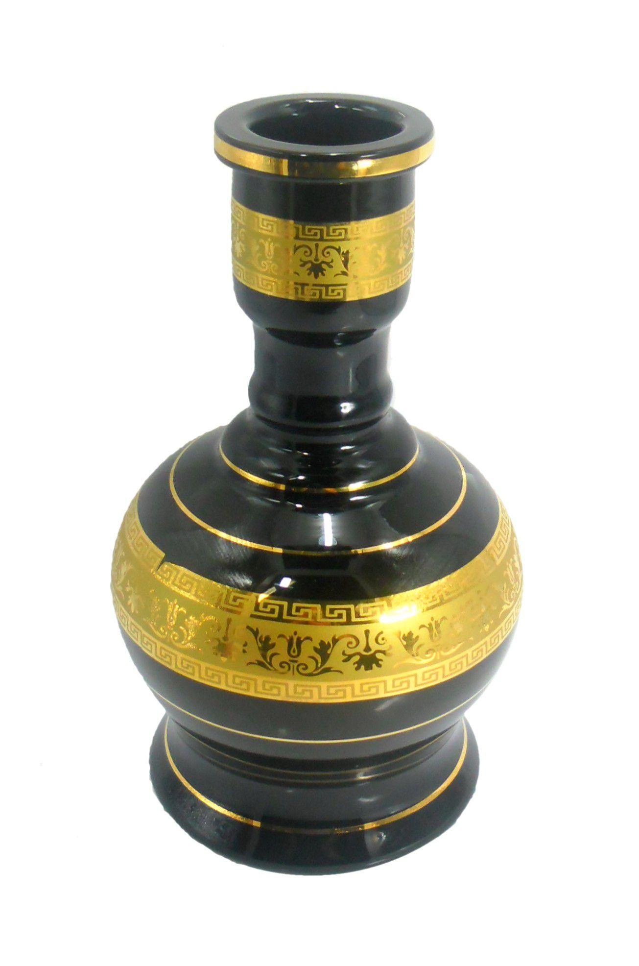Vaso/base para narguile JUMBO MÉDIO 24cm, decoração faixa grega em dourado. 5cm diâmetro encaixe