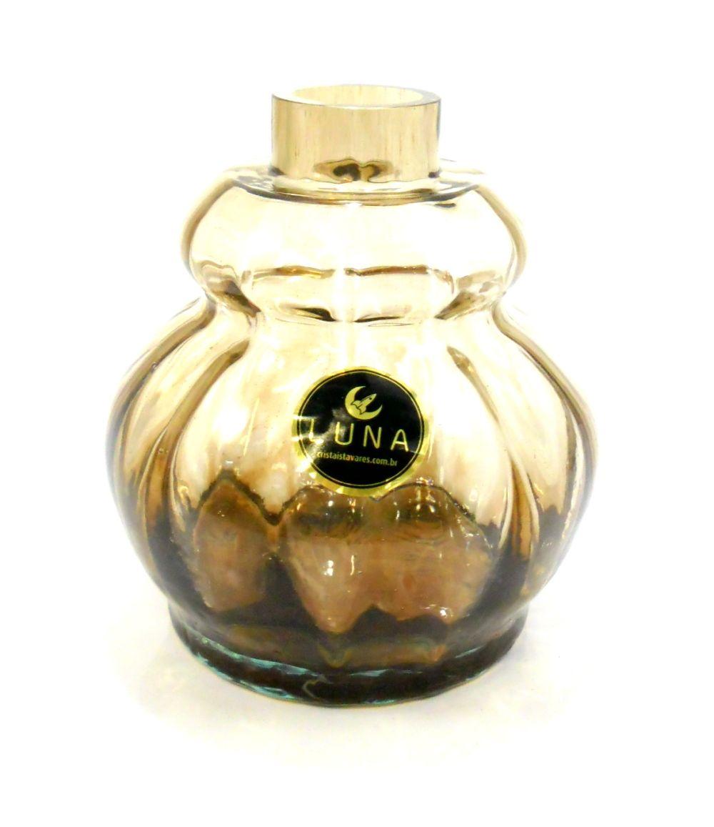 Vaso/base para narguile Luna Double, em vidro, 13cm alt., 3,9cm de bocal. Encaixe macho (interno).