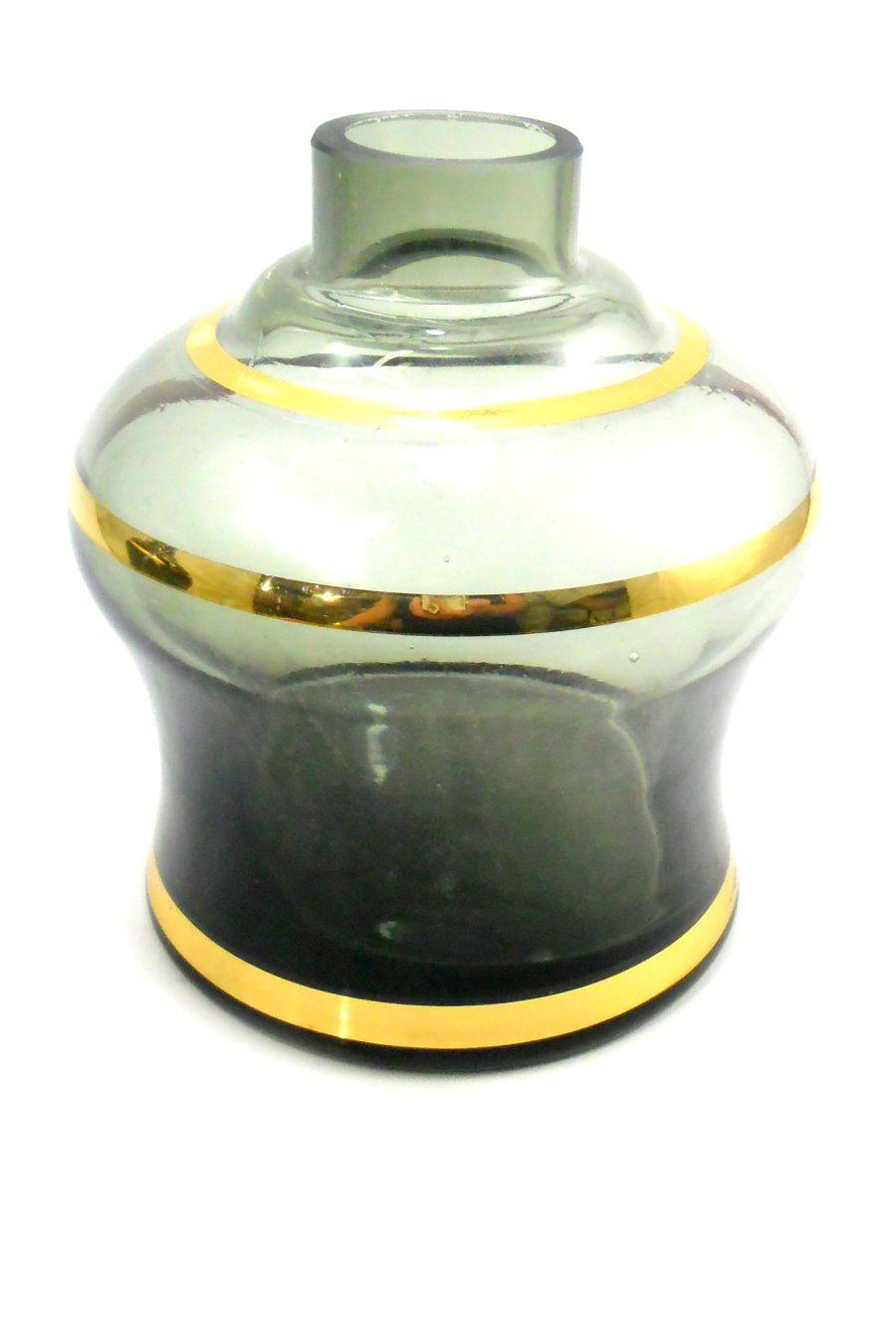 Vaso/base para narguile Nasa/Luna PUMP, c/ LISTRAS DOURADAS. 13cm alt. Encaixe macho (interno).