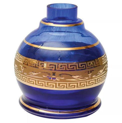 Vaso/base para narguile modelo BALL com FAIXA GREGA dourada (13cm), Shisha Glass. Encaixe macho.
