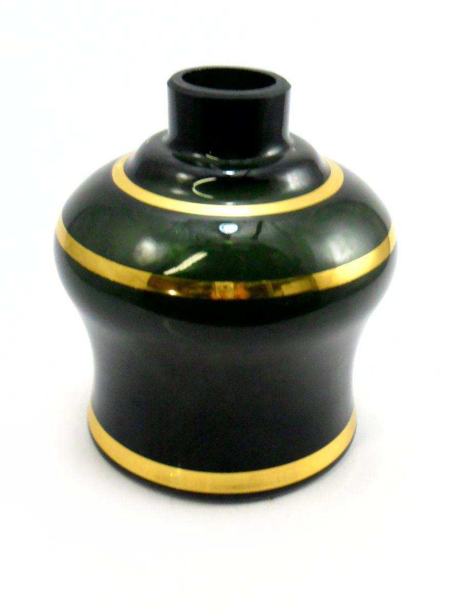 Vaso/base para narguile Nasa/Luna PUMP, c/ LISTRAS DOURADAS. 13cm alt. Encaixe macho (interno). Preto Listra Dourada