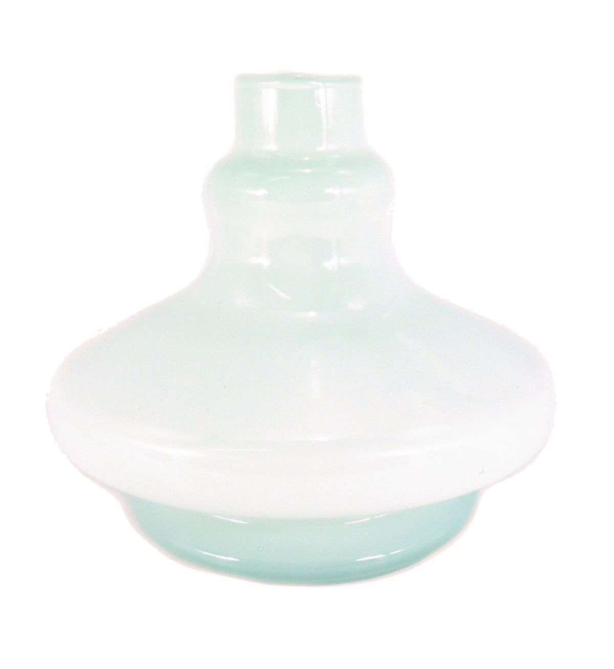 Vaso/base para narguile REI DO NARGUILE em vidro, formato ALADIN (14cm alt.). 3,8cm diâmetro bocal. Branco