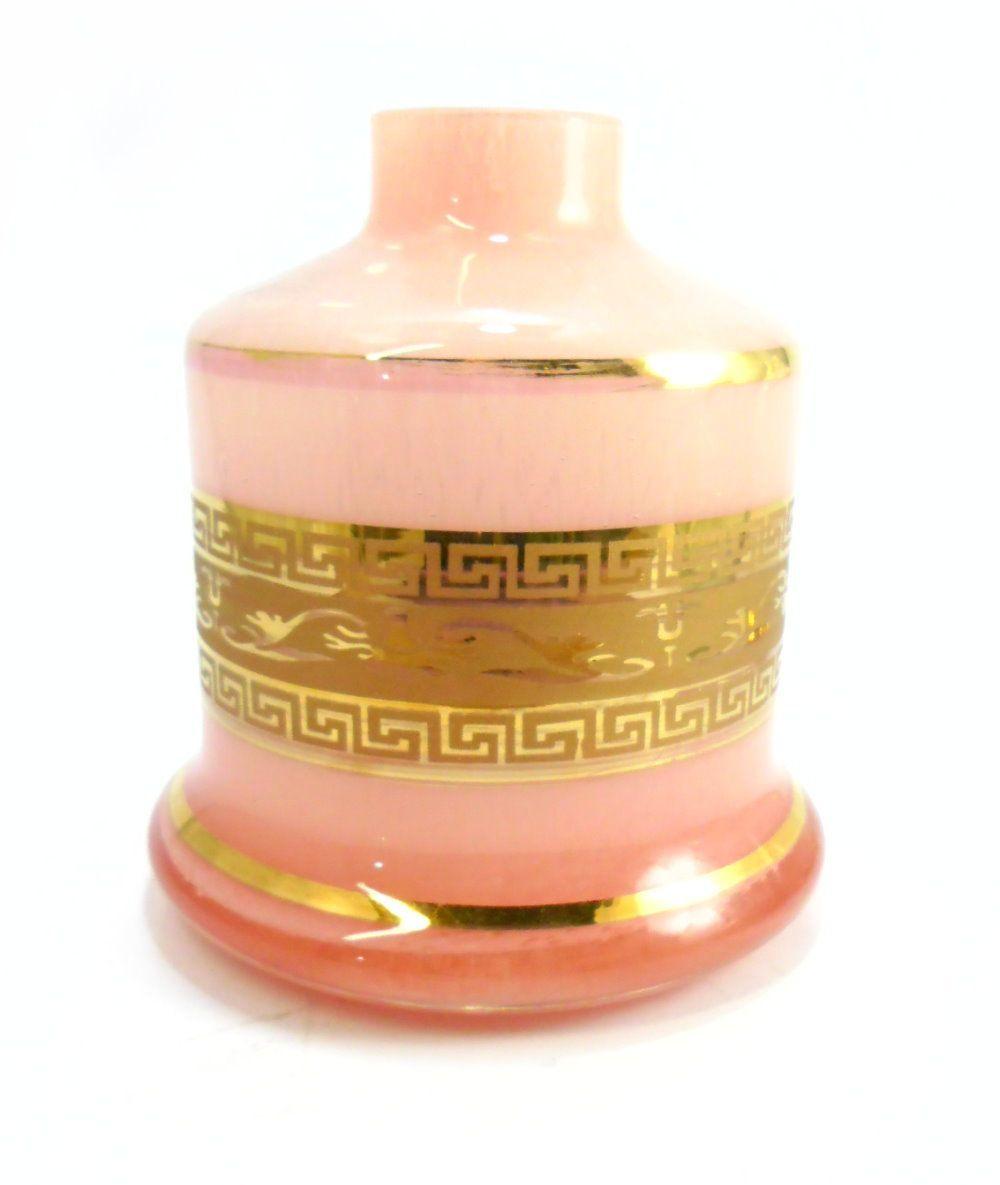 Vaso/base para narguile Shisha Glass EVOLUTION (reto) com FAIXA GREGA dourada (13cm). Encaixe macho.
