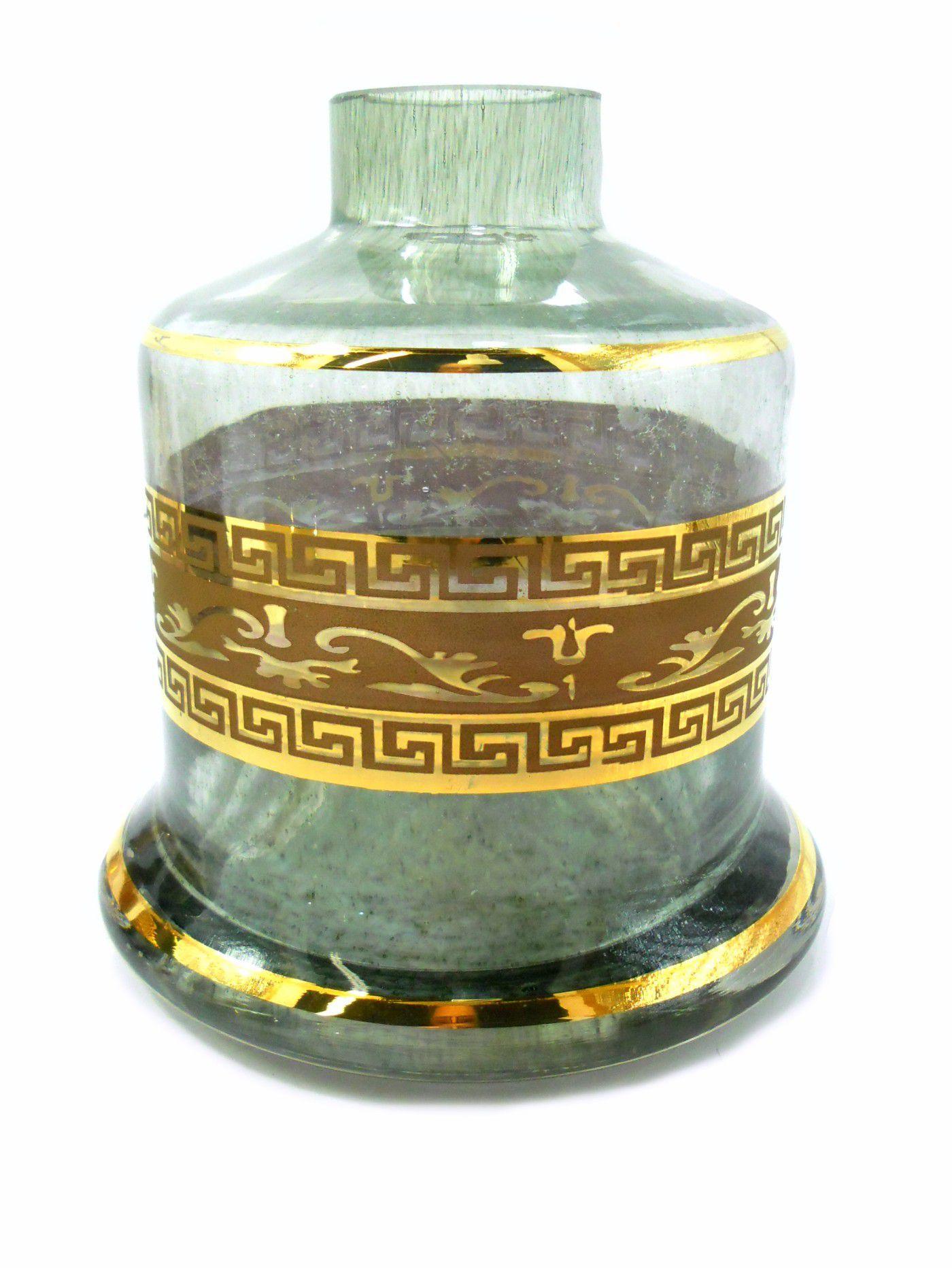 Vaso/base para narguile Shisha Glass EVOLUTION (reto) com FAIXA GREGA dourada (13cm). Encaixe macho. Grafite com faixa g