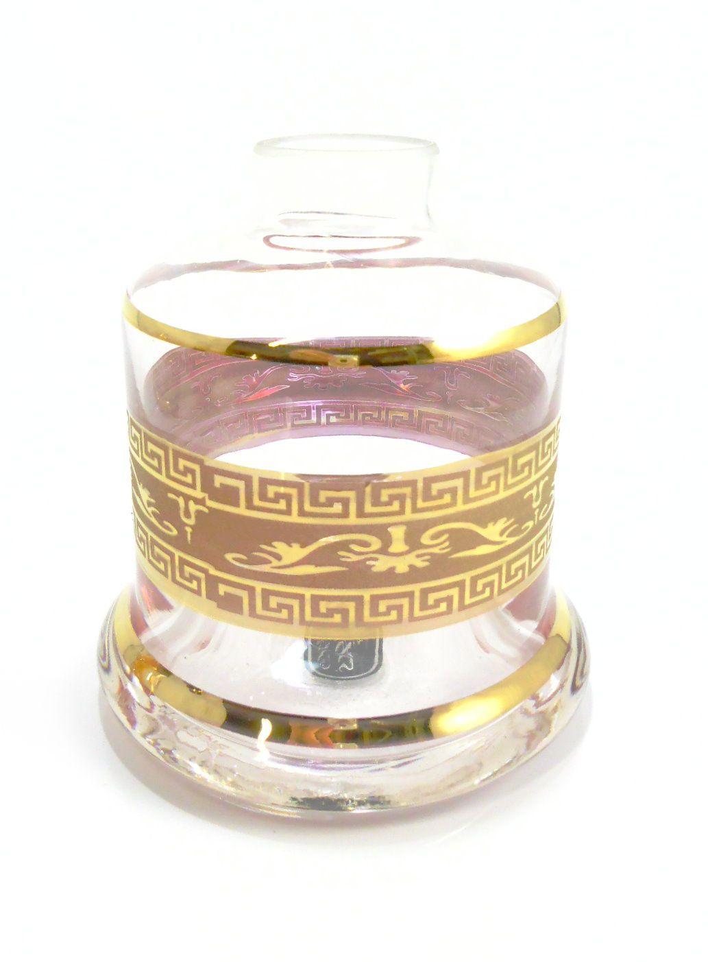Vaso/base para narguile Shisha Glass EVOLUTION (reto) com FAIXA GREGA dourada (13cm). Encaixe macho. Transparente com fa