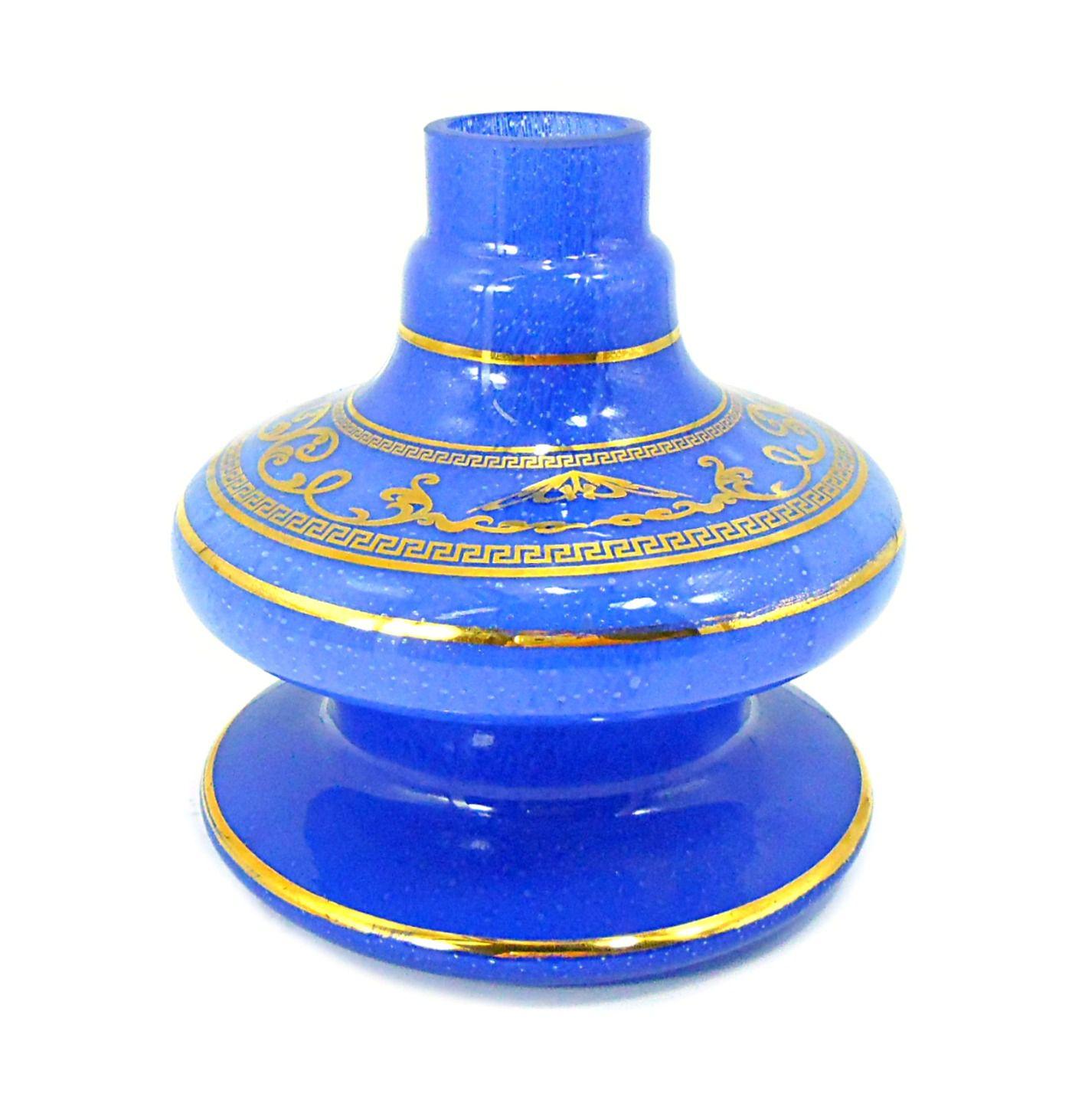 Vaso/base para narguile Shisha Glass NIX, em vidro com FAIXA GREGA dourada (13cm). Encaixe macho.