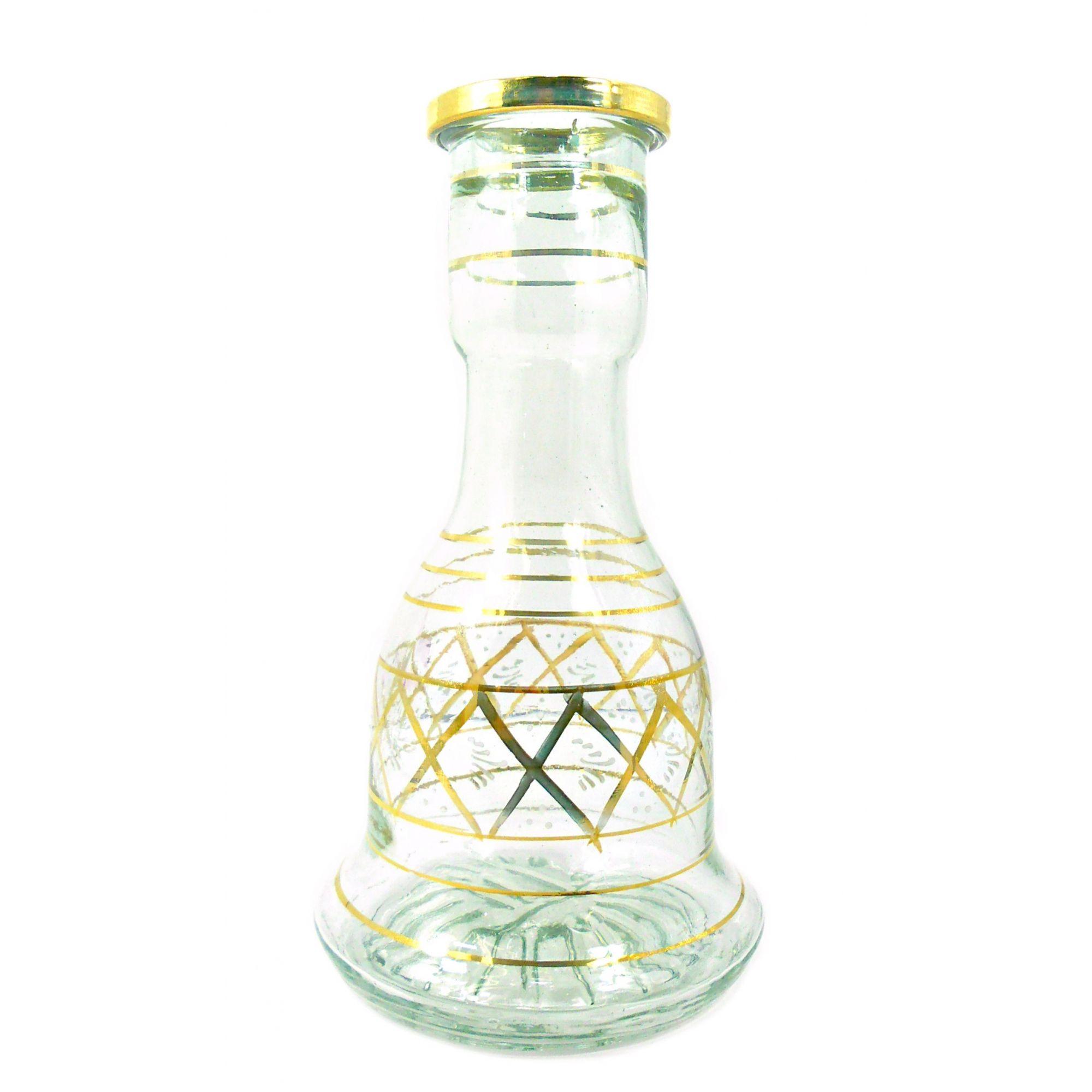 Vaso/base para narguile SINO GRANDE 29cm Egípcio, vidro transparente DECORAÇÃO DOURADA. 4,7cm diâmetro int. bocal. V22