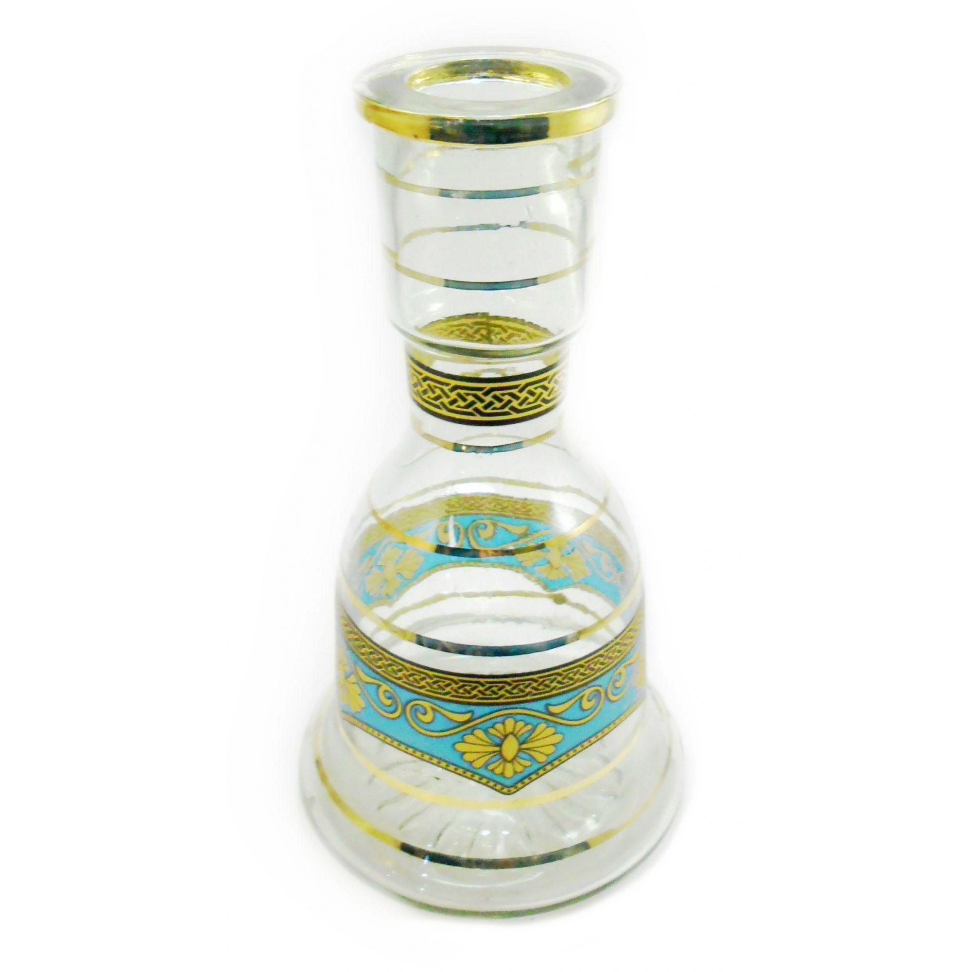 Vaso/base para narguile SINO MÉDIO 25cm, artesanal Egípcio decorado c/ARABESCOS. Bocal 4,0cm diâm.