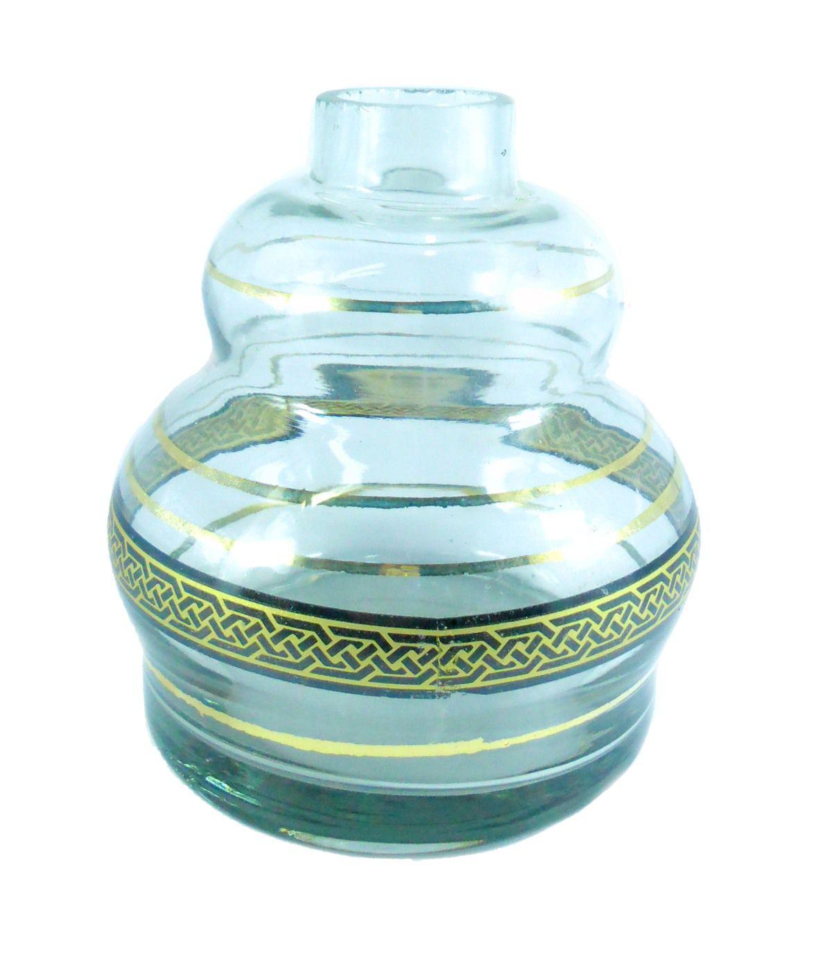 Vaso/base para narguile YAHYA DOUBLE tipo macho. Vidro decorado com listras e faixa dourada. V136