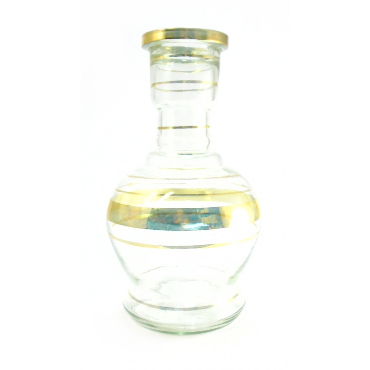 Vaso/base para narguile JUMBO MÉDIO 26cm, artesanal Egípcio transparente c/listra. Bocal 4,6cm diâm.