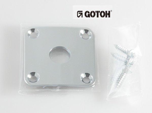 """Jack Plate cromado  """"quadrado"""" curvo p/ guitarra - Gotoh (JCB-4)  - Luthieria Brasil"""