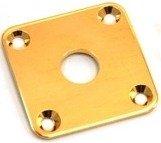 """Jack Plate """"quadrado"""" dourado p/ guitarra (reto)  - Luthieria Brasil"""