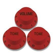 Kit 3 Knobs Vermelhos P/ Guitarra Strato - 2 Tone 1 Volume  - Luthieria Brasil