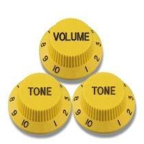 Kit 3 Knobs Amarelos P/ Guitarra Strato - 2 Tone 1 Volume  - Luthieria Brasil