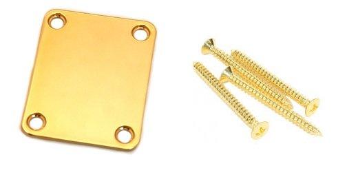 Neck plate dourado para guitarra/baixo  + 4 parafusos (42mm x 4,2mm)  - Luthieria Brasil