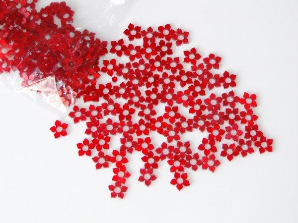 """Inlay/Marcações (dots) formato """"flor"""" - Padrão 1 - Acrílico vermelho perolado - 10mm x 10mm x 2mm (Pacote com 12 un)  - Luthieria Brasil"""