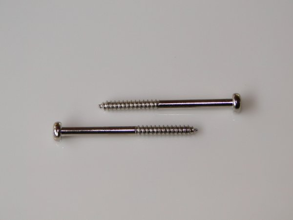 Parafuso cromado p/ captador de baixo (35mm x 2,9mm) (kit 02 peças)  - Luthieria Brasil