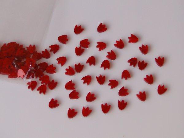 """Inlay/Marcações (dots) formato """"flor"""" - Padrão 6 - Acrílico vermelho perolado - 6,8mm x 8mm x 2mm (Pacote com 12 un)  - Luthieria Brasil"""
