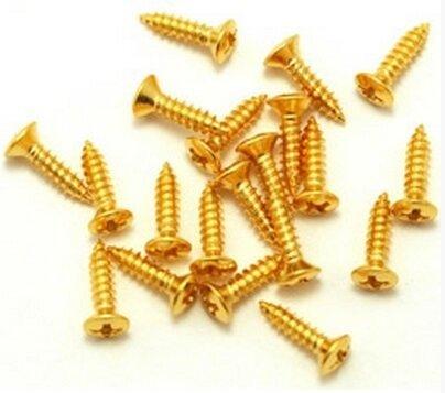 Parafuso dourado para escudo de guitarra e baixo - kit c/ 24 peças (10mm x 2,5mm)  - Luthieria Brasil