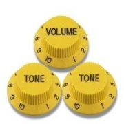 Kit 3 Knobs Amarelos P/ Guitarra Strato - 2 Tone 1 Volume