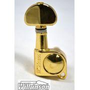 """Tarraxa Dourada Blindada """"em linha"""" botão """"Groover"""" para guitarra - jogo 6 peças - Wilkinson (WJ703-L)"""