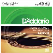 Encordoamento D'Addario EZ890-B Bronze 85/15 Super Light 09-45 C/ CORDA MI EXTRA (.009)