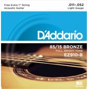 Encordoamento D?Addario EZ910-B Bronze 85/15 Light 11-52 C/ CORDA MI EXTRA (.011)
