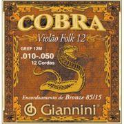 Encordoamento Giannini GEEF12M Série Cobra (85/15) para Violão Aço 12 cordas (.010)