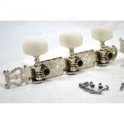 Tarraxa niquel pino grosso com botão branco para violão de nylon 6 cordas - Gotoh (GOT-35G350-CR)