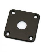 """Jack Plate """"quadrado"""" de plástico preto p/ guitarra (reto) - Spirit (PLJC)"""