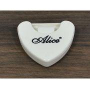 Porta palheta auto-adesivo de plástico para instrumentos de corda - Cor branca - Alice (A010A)