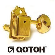"""Tarraxa Dourada """"em linha"""" Vintage para guitarra - Jogo 6 peças - Gotoh (SD91-05M-6L)"""