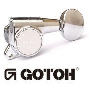 """Tarraxa Cromada Blindada """"3+3"""" botão oval para guitarra - jogo 6 peças - Gotoh (SG381-05-3X3-CR)"""
