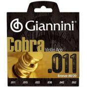 Encordoamento Giannini CA82SL Série Cobra (80/20) para Violão Aço (.011)