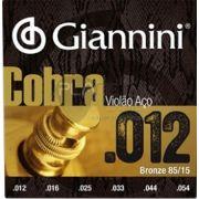 Encordoamento Giannini GEEFLKS Série Cobra (85/15)  para Violão Aço (.012)