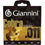 Encordoamento Giannini GEEFLK Série Cobra (85/15)  para Violão Aço (.011)