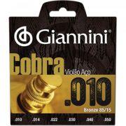 Encordoamento Giannini GEEFLE Série Cobra (85/15)  para Violão Aço (.010)