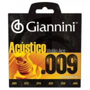 Encordoamento Giannini GESWAL Série Acústico para Violão Aço (.009)