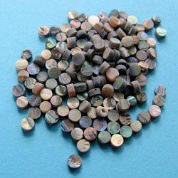 Marcações (dots) redondas para braço - Abalone - 3mm x 2mm (Pacote com 10 un)  - Luthieria Brasil