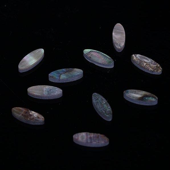 Marcações (dots) oval para braço - Abalone - 12mm x 6mm x 2mm (Pacote com 10 un)  - Luthieria Brasil