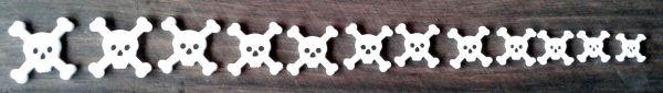 """Marcações (dots) para braço """"caveira"""" - Acrílico branco (2mm) (Pacote com 12 un)  - Luthieria Brasil"""