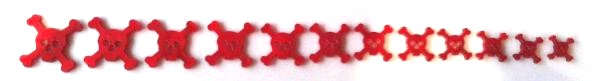 """Marcações (dots) para braço """"caveira"""" - Acrílico vermelho perolado (2mm) (Pacote com 12 un)  - Luthieria Brasil"""