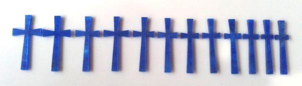 """Marcações (dots) para braço """"cruz"""" - Acrílico azul perolado (2mm) (Pacote com 12 un)  - Luthieria Brasil"""