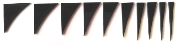 """Marcações (dots) para braço """"Dente de tubarão"""" (Padrão 2) - Acrílico preto (2mm) (Pacote com 10 un)  - Luthieria Brasil"""