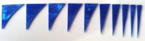 """Marcações (dots) para braço """"Dente de tubarão"""" (Padrão 2) - Acrílico azul perolado (2mm) (Pacote com 10 un)  - Luthieria Brasil"""