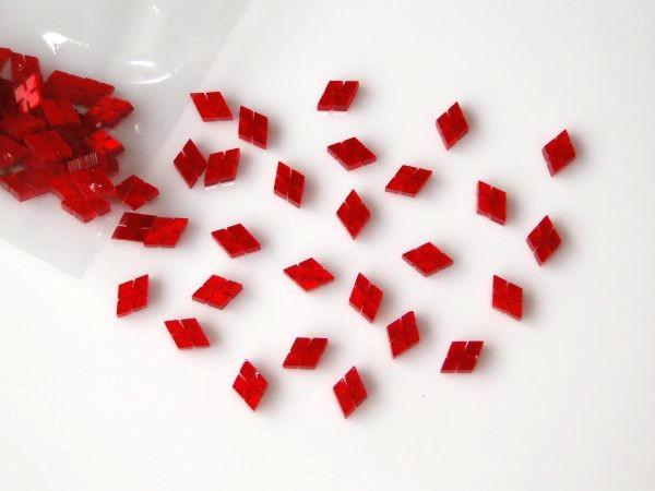 Marcações (dots) diamante (vazado) para braço - Padrão 2 - Acrílico vermelho perolado - 10.5mm x 7mm x 2mm (Pacote com 12 un)  - Luthieria Brasil