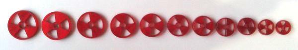 """Marcações (dots) para braço """"radiação"""" - Acrílico vermelho perolado (2mm) (Pacote com 11 un)  - Luthieria Brasil"""