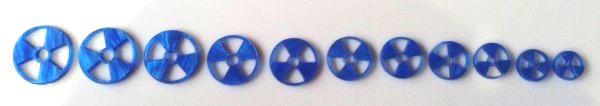 """Marcações (dots) para braço """"radiação"""" - Acrílico azul perolado (2mm) (Pacote com 11 un)  - Luthieria Brasil"""